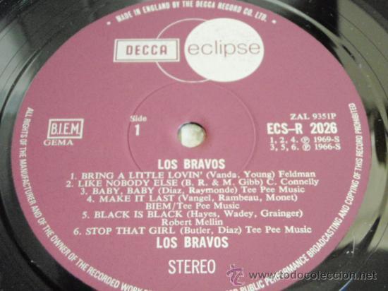 Discos de vinilo: LOS BRAVOS ( BLACK IS BLACK - BRING A LITTLE LOVIN - SYMPATHY - TRAPPED ... ) ENGLAND-1970 DECCA - Foto 4 - 32724913
