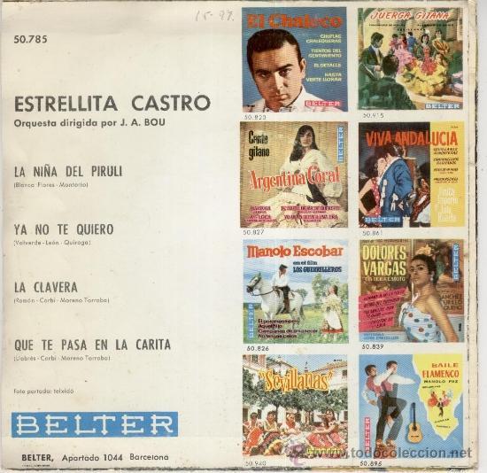 Discos de vinilo: ESTRELLITA CASTRO - QUE TE PASA EN LA CARITA + LA NIÑA DEL PIRULI +2 - EP 1963 - EX / EX - Foto 2 - 32732223
