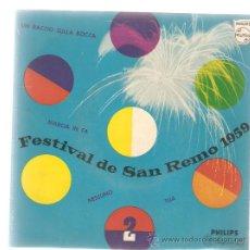 Discos de vinilo: EP FESTIVAL DE SAN REMO 1959: CANTAN WILMA DE ANGELIS Y ARTURO TESTA . Lote 32740248