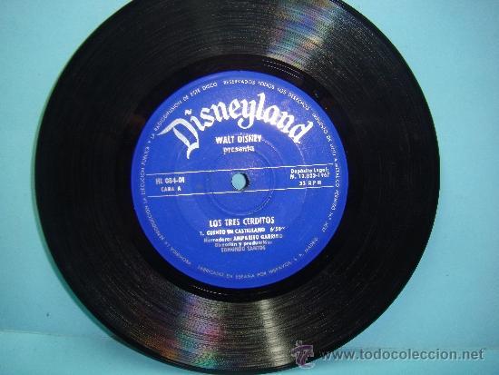 DISCO VINILO. 45RPM. DISNEYLAND. WALT DISNEY PRESENTA: LOS TRES CERDITOS - SINGLE 45RPM 1967 (Música - Discos - Singles Vinilo - Música Infantil)