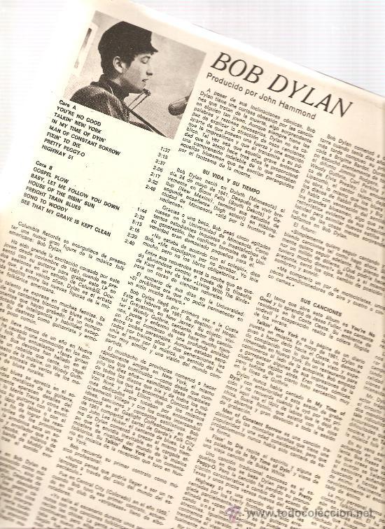 Discos de vinilo: LP BOB DYLAN ( PRIMER LP DE DYLAN ) - Foto 2 - 32814113