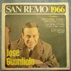 """Discos de vinilo: JOSE GUARDIOLA_SAN REMO/1966_ 1ER PREMIO_VINILO 7"""" EDICION ESPAÑOLA_1966. Lote 32848689"""