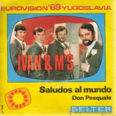 Discos de vinilo: DISCO DE IVAN AND M,S - FSTIVAL DE EUROVISION, 1969 YUGOSLAVIA. Lote 32850073