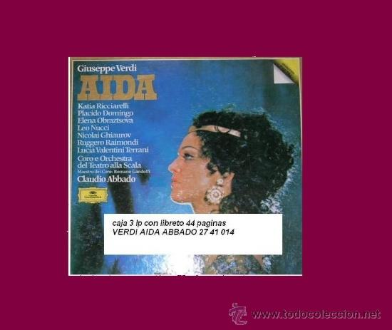 VERDI..AIDA..ABBADO.. CAJA 3 LP MAS LIBRETO RICCIARELLI..DOMINGO..SCALA... (Música - Discos - LP Vinilo - Clásica, Ópera, Zarzuela y Marchas)