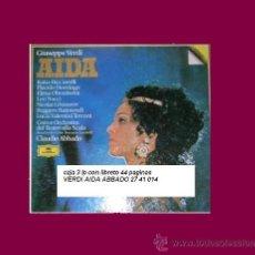 Discos de vinilo: VERDI..AIDA..ABBADO.. CAJA 3 LP MAS LIBRETO RICCIARELLI..DOMINGO..SCALA.... Lote 26007892