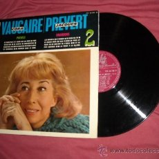 Discos de vinilo: CORA VAUCAIRE LP CHANSONS ET POEMES DE PREVERT VOL 2 196? PATHE FRANCIA. Lote 32963618