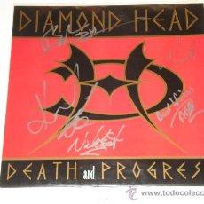 Discos de vinilo: DIAMOND HEAD / DEATH AND PROGRESS - NWOBHM - LP ECC 1993 FIRMADO AUTOGRAFIADO POR TODA LA BANDA!!!!!. Lote 32969010