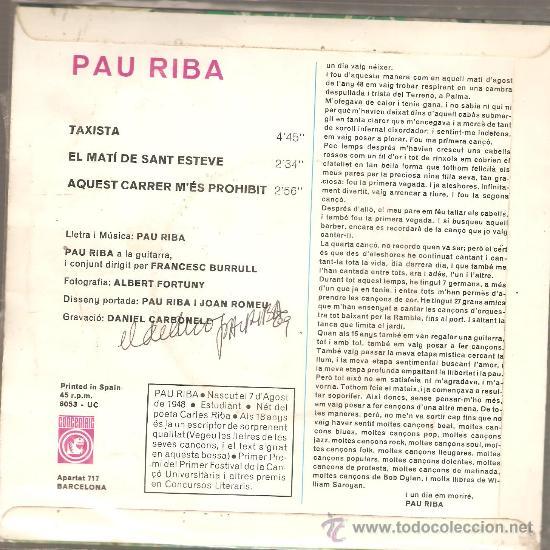 Discos de vinilo: EP PAU RIBA : TAXISTA - Foto 2 - 33003645