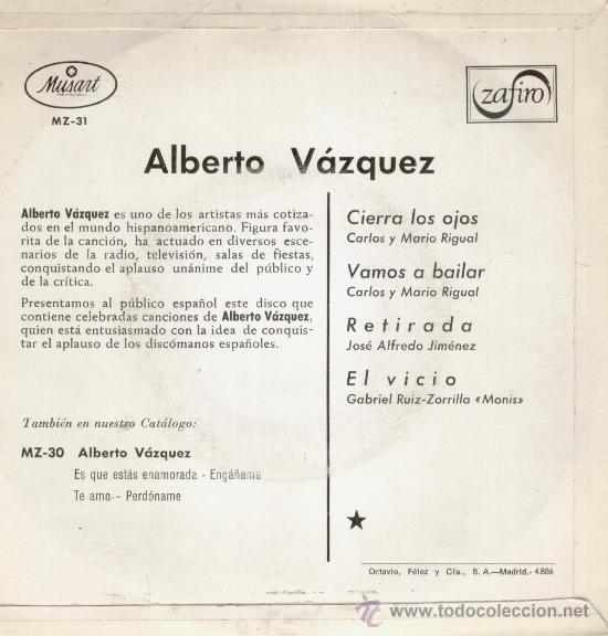Discos de vinilo: ALBERTO VAZQUEZ - CIERRA LOS OJOS -+3 EP SPAIN 1968 EX / EX - Foto 2 - 33061511