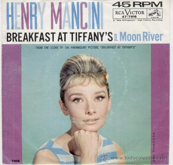 HENRY MANCINI - BREAKFAST AT TIFFANYS - PORTADA AUDREY HEPBURN - SG USA - VG+ / VG+ (Música - Discos de Vinilo - EPs - Bandas Sonoras y Actores)