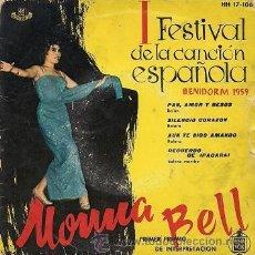 Discos de vinilo: MONNA BELL: I FESTIVAL DE BENIDORM (EP DE 1959). Lote 33281584