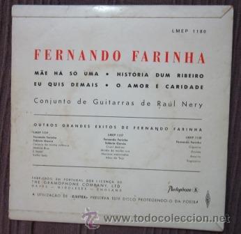 Discos de vinilo: FERNANDO FARINHA - MAE HÁ SÓ UMA - Foto 2 - 33295220