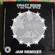 Discos de vinilo: LP - CRAZY EDDIE + Q.Q. FREE STYLE - JAM REMIXES (SPAIN, BLANCO Y NEGRO MUSIC 1991). Lote 33306005