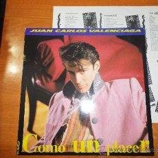 Discos de vinilo: JUAN CARLOS VALENCIAGA COMO UN PLACER LP VINILO TEMAS DE ALEJANDRO SANZ TINO CASAL Y LUIS MIGUELEZ. Lote 33373363