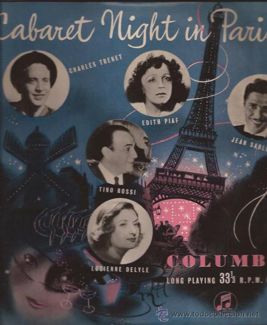 LP-25 CTMS-CABARET NIGHT IN PARIS-COLUMBIA 1008-UK-195???-PIAF TRENET ROSSI DELYLE SABLON (Música - Discos - LP Vinilo - Canción Francesa e Italiana)