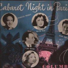 Discos de vinilo: LP-25 CTMS-CABARET NIGHT IN PARIS-COLUMBIA 1008-UK-195???-PIAF TRENET ROSSI DELYLE SABLON. Lote 33380887