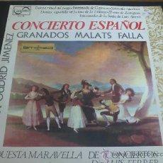 Discos de vinilo: CONCIERTO ESPAÑOL GRANADOS, FALLA, BRETÓN, ETC - DIRECTOR: LUIS FERRER - LP DE VINILO. Lote 33461101