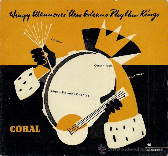 WINGY MANNONE'S NEW ORLEANS RHYTHM KINGS: PANAMA / OSTRICH WALK... (45 RPM, CORAL) (Música - Discos de Vinilo - EPs - Jazz, Jazz-Rock, Blues y R&B)