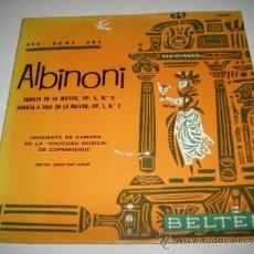 Discos de vinilo: ALBINONI SONATA EN LA MAYOR ORQUESTA DE LA SOCIEDAD MUSICA COPENHAGUE (1962 BELTER ESPAÑA). Lote 33559168