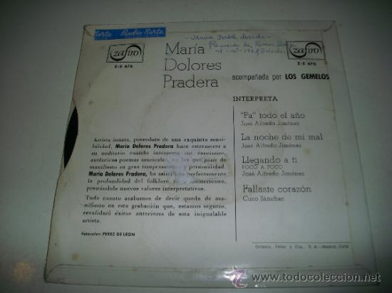Discos de vinilo: MARIA DOLORES PRADERA con LOS GEMELOS (1965 ZAFIRO ESPAÑA) Pa todo el año - Foto 2 - 33559727