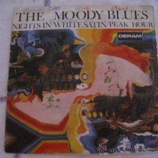 Discos de vinilo: THE MOODY BLUES - NIGHTS IN WHITE SATIN / PEAK HOUR - DERAM1967. Lote 33649884