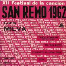 Discos de vinilo: MILVA EP SELLO SAEF, SAN REMO 1962 EDITADO EN ESPAÑA, AUTOGRAFIADO.. Lote 33657281