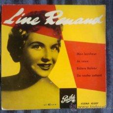 Discos de vinilo: LINE RENAUD MON BONHEUR JE VEUX PATHE 45EMA 40007 ESPAÑOL BARCELONA EP. Lote 33661399