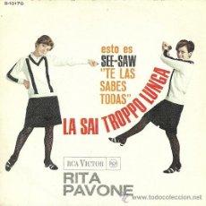 Discos de vinilo: RITA PAVONE SINGLE SELLO RCA VICTOR EDITADO EN ESPAÑA AÑO 1966. Lote 33741858