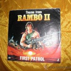 Discos de vinilo: THEME FROM RAMBO II. FIRST PATROL. EDICION ALEMANA 1985. Lote 33769005