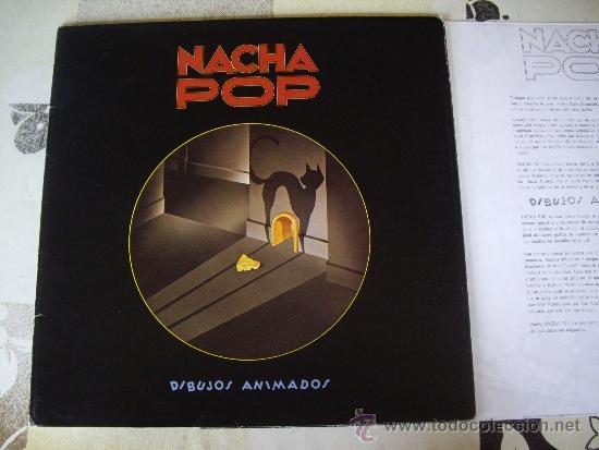NACHA POP SET PROMO DIBUJOS ANIMADOS (FOLDER + LP + HOJA) INENCONTRABLE JOYA POP (Música - Discos - LP Vinilo - Grupos Españoles de los 70 y 80)
