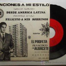 Discos de vinilo: EL PROFETA FRANCISCO DE ALBACETE*DESDE AMERICA LATINA / FELICITO*45 BARNAFON 1975*FIRMADO*. Lote 33808299