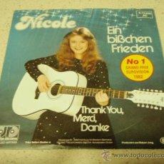 Discos de vinilo: NICOLE 'Nº1 EUROVISION 1982' ( EIN BISSCHEN FRIEDEN - THANK YOU, MERCI, DANKE ) GERMANY SINGLE. Lote 33825809