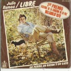 Discos de vinilo: SINGLE JULIO RAMOS .LIBRE 1 PREMIO FESTIVAL DE LA CANCION DE LA PAZ.VALLADOLID 1976. Lote 33830219