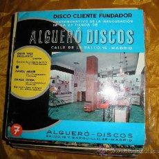 Discos de vinilo: DISCO CLIENTE FUNDADOR. ALGUERO DISCOS. INAUGURACION 2ª TIENDA.3 CANCIONES 1969. Lote 33893074