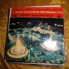 Discos de vinilo: JOSE GUARDIOLA. 2º FESTIVAL CANCION MEDITERRANEA 1960. XIPNA AGHAPI MOU + 3. LA VOZ DE SU AMO. Lote 33893122