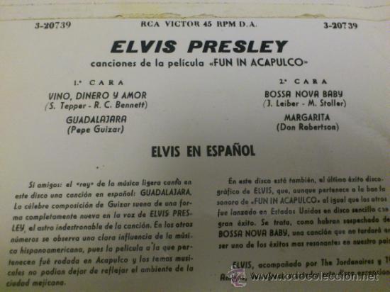 Discos de vinilo: Elvis presley Fun in Acapulco disco de vinilo de 7 pulgadas - Foto 4 - 33899822