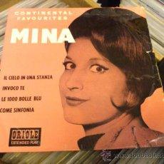 Discos de vinilo: MINA CONTINENTAL FAVOURITES IL CIELO IN UNA STANZA EP SINGLE VINILO SUPER RARO!. Lote 33923982