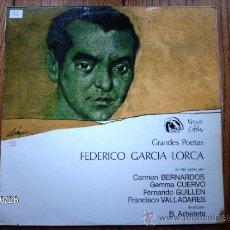 Discos de vinilo: FEDERICO GARCIA LORCA - CARMEN BERNARDOS - GEMMA CUERVO - FERNANDO GUILLEN - FRANCISCO VALLADARE. Lote 33988695