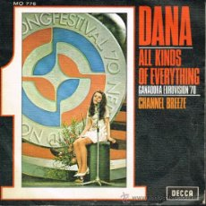 Discos de vinilo: DANA - ALL KINDS OF EVERYTHING / CHANNEL BREEZE - SINGLE 1970. Lote 115688556