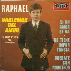 Discos de vinilo: RAPHAEL EUROVISION ´67 EP SELLO VOGUE EDITADO EN FRANCIA. . Lote 34004511