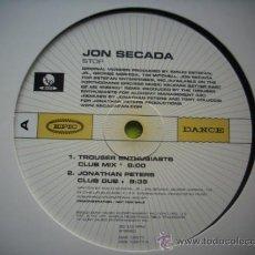 Discos de vinilo: JON SECADA FEATURING REMIXES BY :JONATHAN PEPTERS TROUSER ENTHUSIASTS/MAXI PROMO PEPETO. Lote 34024911
