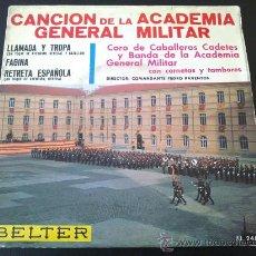 Discos de vinilo: CANCIÓN DE LA ACADEMIA GENERAL MILITAR, CORO DE CABALLEROS CADETES Y BANDA CON CORNETAS Y TAMBORES. Lote 34037386