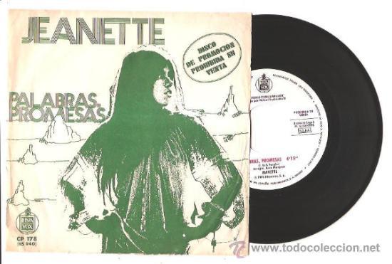SINGLE JEANETTE - PALABRAS PROMESAS/DEBAJO DEL PLATANERO – PROMOCIONAL - ESPAÑA (Música - Discos - Singles Vinilo - Solistas Españoles de los 70 a la actualidad)