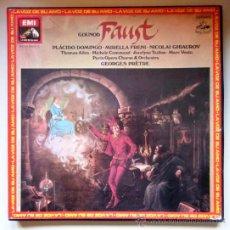 Discos de vinilo: GOUNOD - FAUSTO - PLÁCIDO DOMINGO - CAJA CON 4 LPS + LIBRETO - 1979 - COMO NUEVO. Lote 34170823