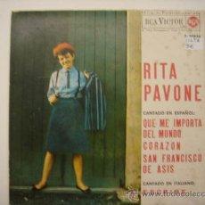 Discos de vinilo: SINGLE RITA PAVONE CANTANDO EN EPAÑOL. Lote 34211581