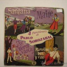 Discos de vinilo: SINGLE 4 CANCIONES DE PABLO SOROZABAL. Lote 34212461