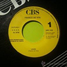 Disques de vinyle: FRANCO DE VITA / LOUIS (SINGLE PROMO 89) SOLO CARA A PEPETO. Lote 34219654