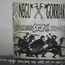 Discos de vinilo: NEGU GORRIAK - HIPOKRISIARI STOP / EUSKALDUNOK ETA ZIENTZIA - ESAN OZENKI 1993. Lote 34235593