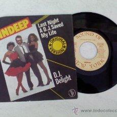 Discos de vinilo: INDEPP/LAST NIGHT A.D.J. SAVED MY LIFE/D.J. DELIGHT 1982. Lote 34239644
