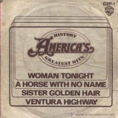 Discos de vinilo: AMERICA GREATEST HITS / SINGLE PROMOCIONAL PARA RADIODIFUSION / 1975. Lote 34288700